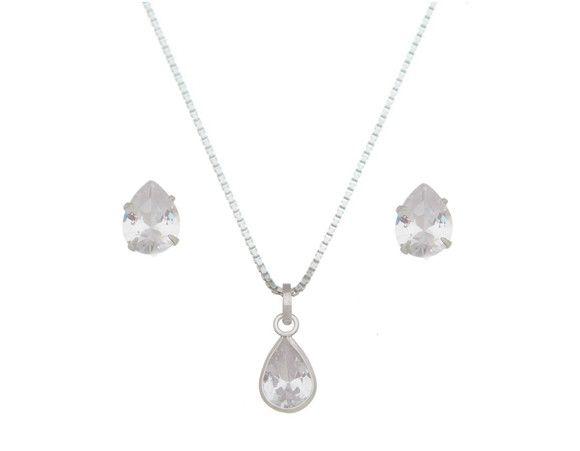 Conjunto Gota Cristal Prata 925
