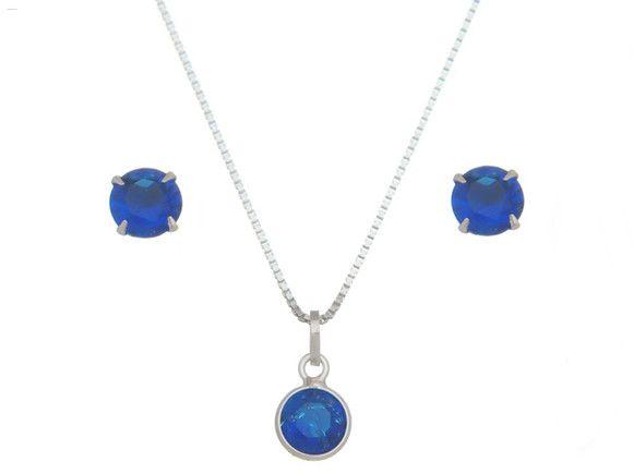 Conjunto Pedra Azul Royal Em Prata 925