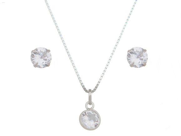 Conjunto Pedra Cristal Prata 925