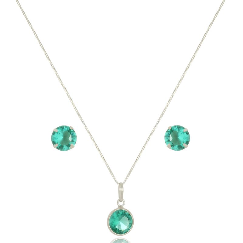 Conjunto Pedra Redonda Verde Cristal 8 mm Em Prata 925