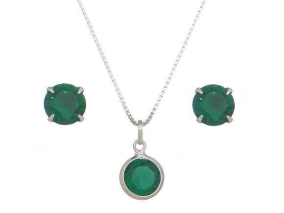Conjunto Pedra Verde 8 mm Prata 925