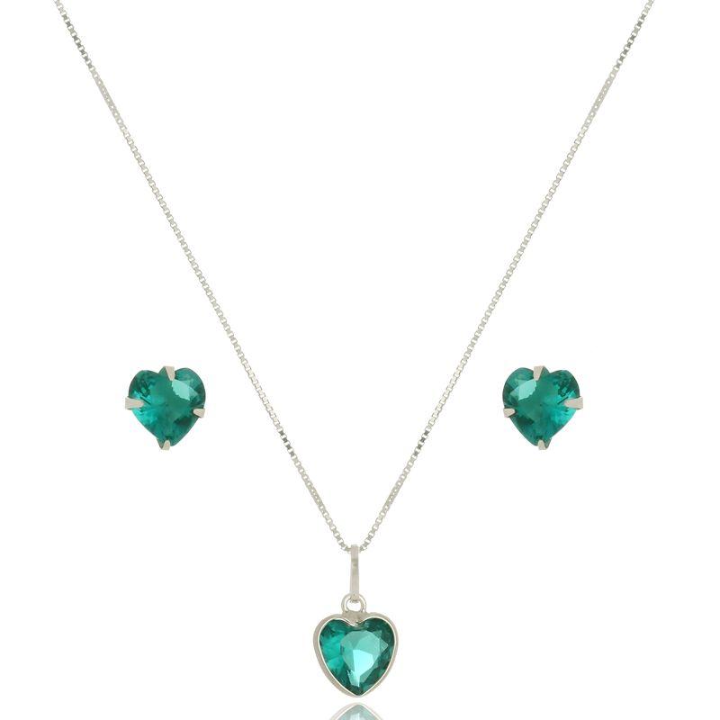 Conjunto Verde Cristal Em Prata 925