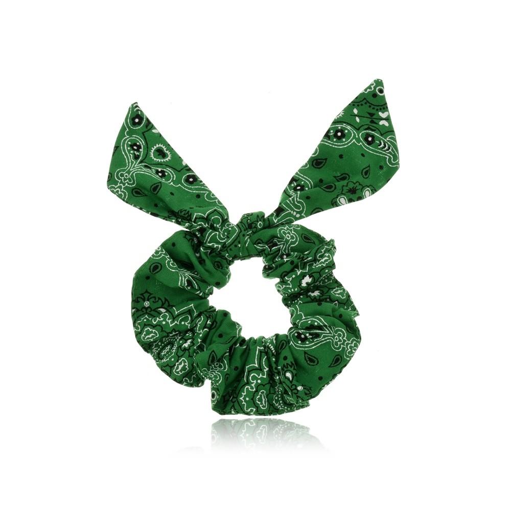 Elástico de Cabelo Scrunchie Verde Bandana