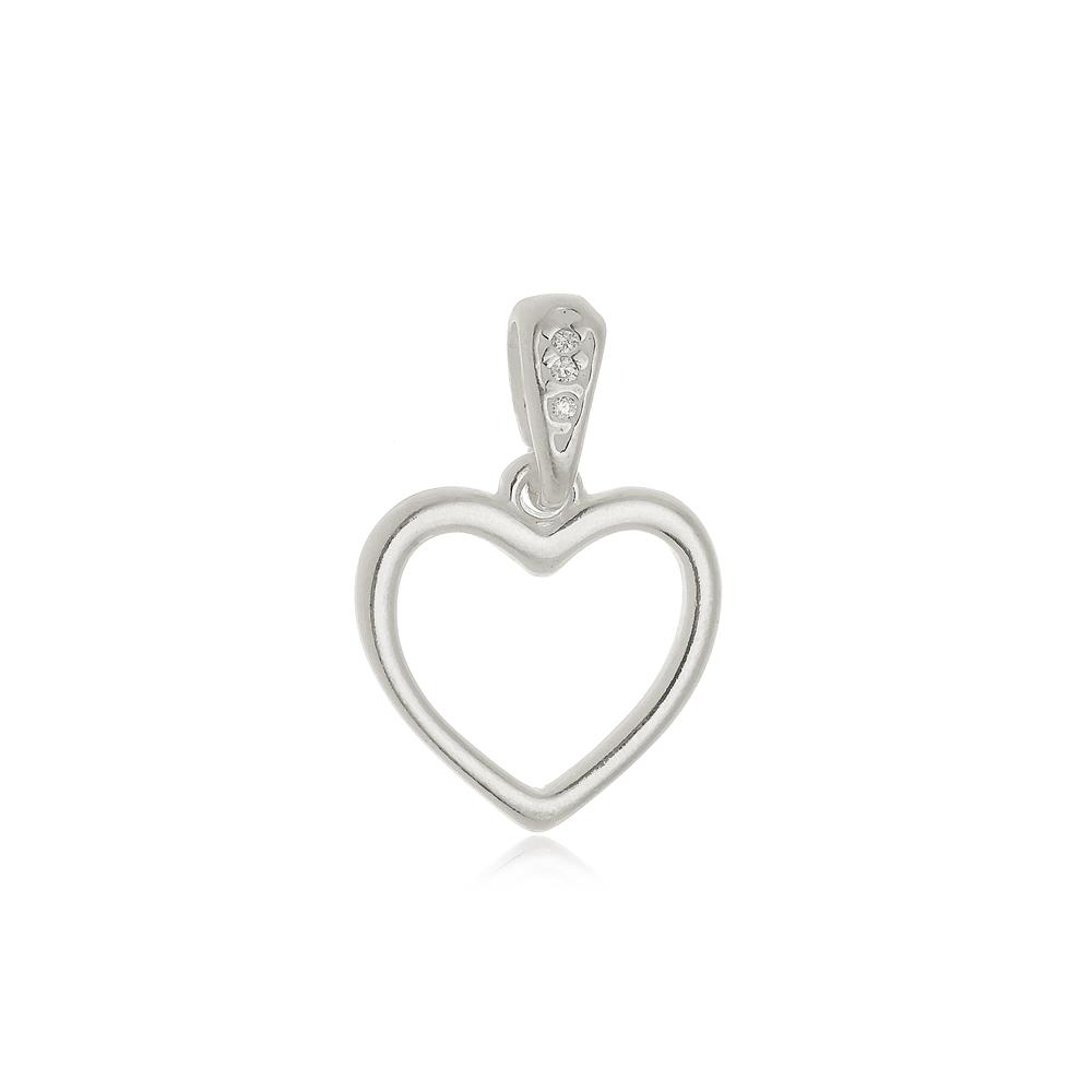 Pingente Coração Vazado com Zircônias  Em Prata 925