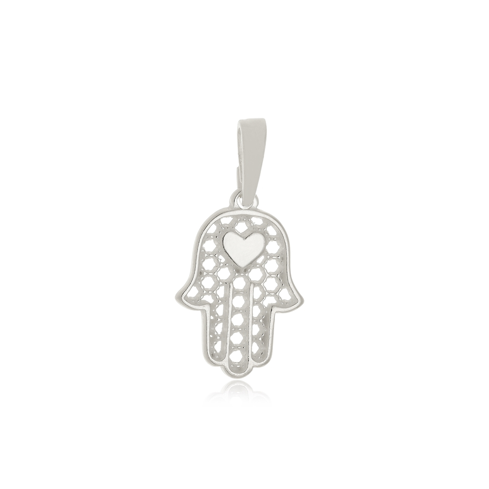 Pingente Mão de Hansá Coração  Em Prata 925