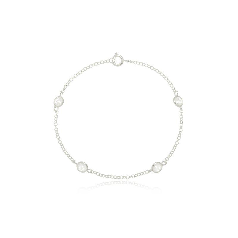 Pulseira Mini Zircônias Cristal Em Prata 925