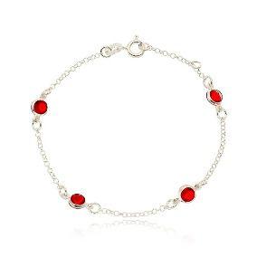 Pulseira Mini Zircônias Vermelhas Em Prata 925