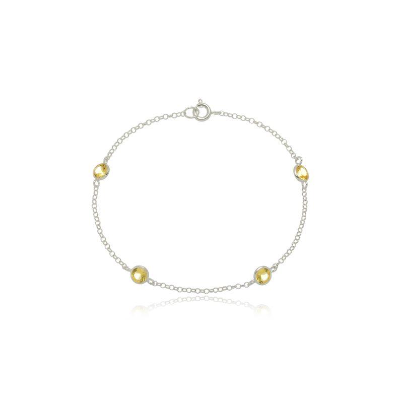 Pulseira Quatro Mini Zircônias Amarelo Cristal  Em Prata 925