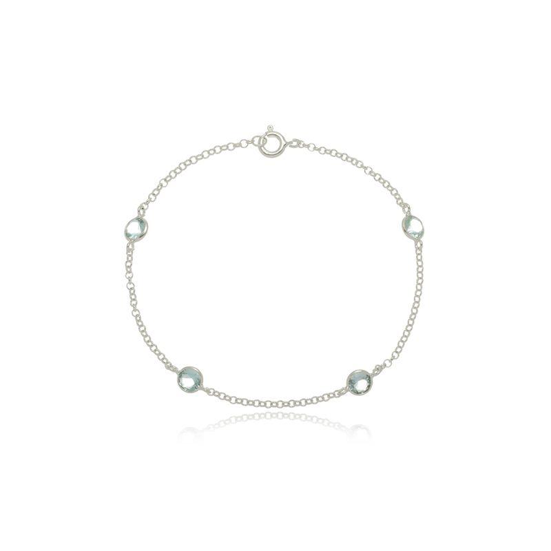 Pulseira Quatro Mini Zircônias Azul Cristal  Em Prata 925