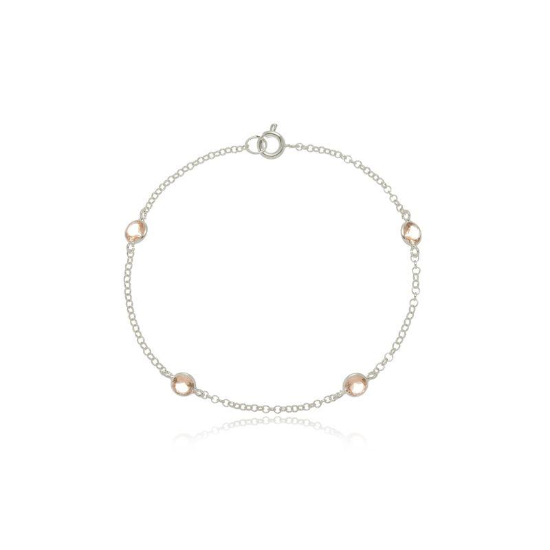 Pulseira Quatro Mini Zircônias Laranja Cristal  Em Prata 925
