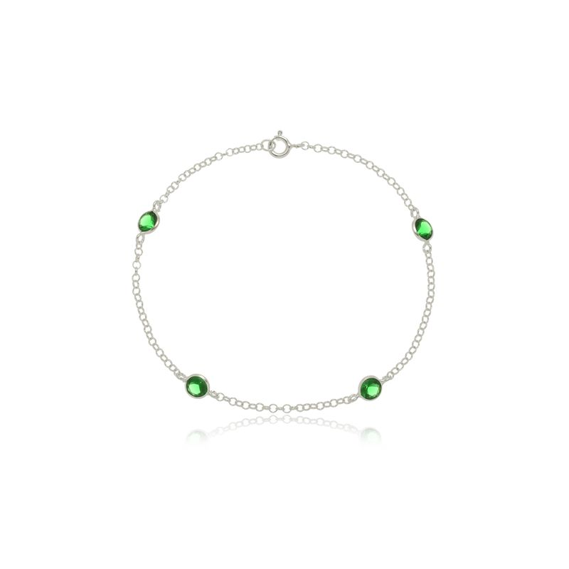 Pulseira Quatro Mini Zircônias Verde  Em Prata 925