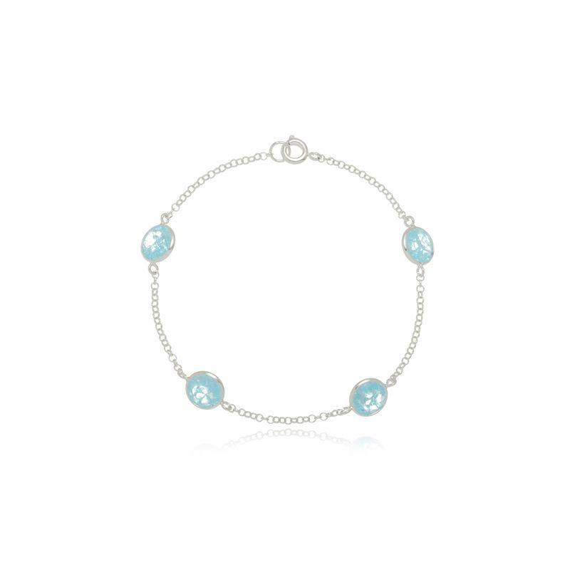 Pulseira Quatro Zircônias Azul Piscina Em Prata 925