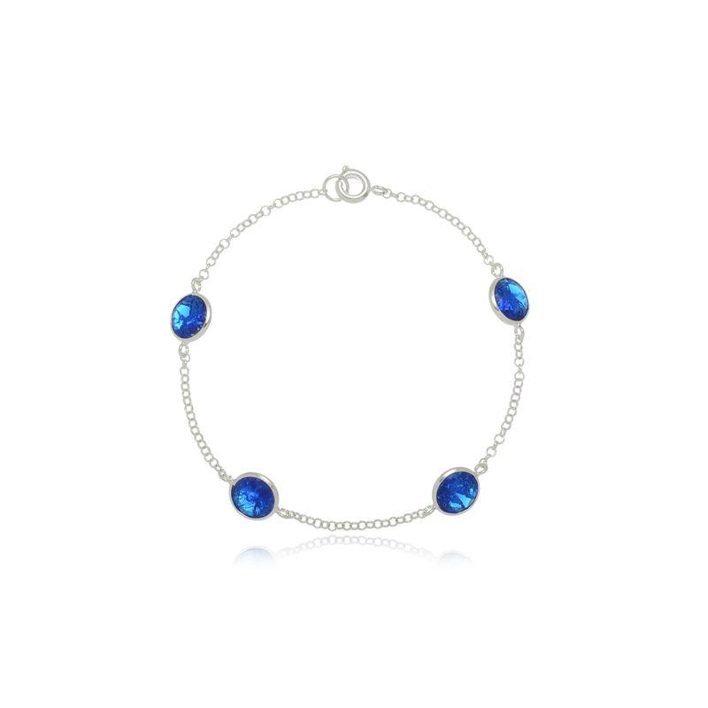Pulseira Quatro Zircônias Azul Royal Em Prata 925