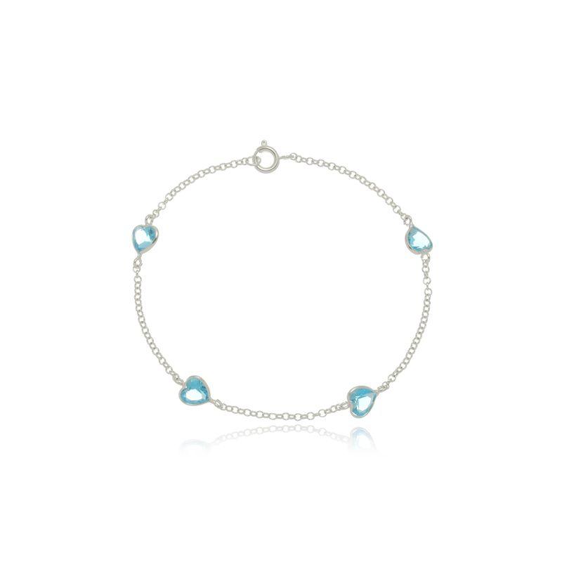 Pulseira Quatro Zircônias Coração Azul Céu Em Prata 925