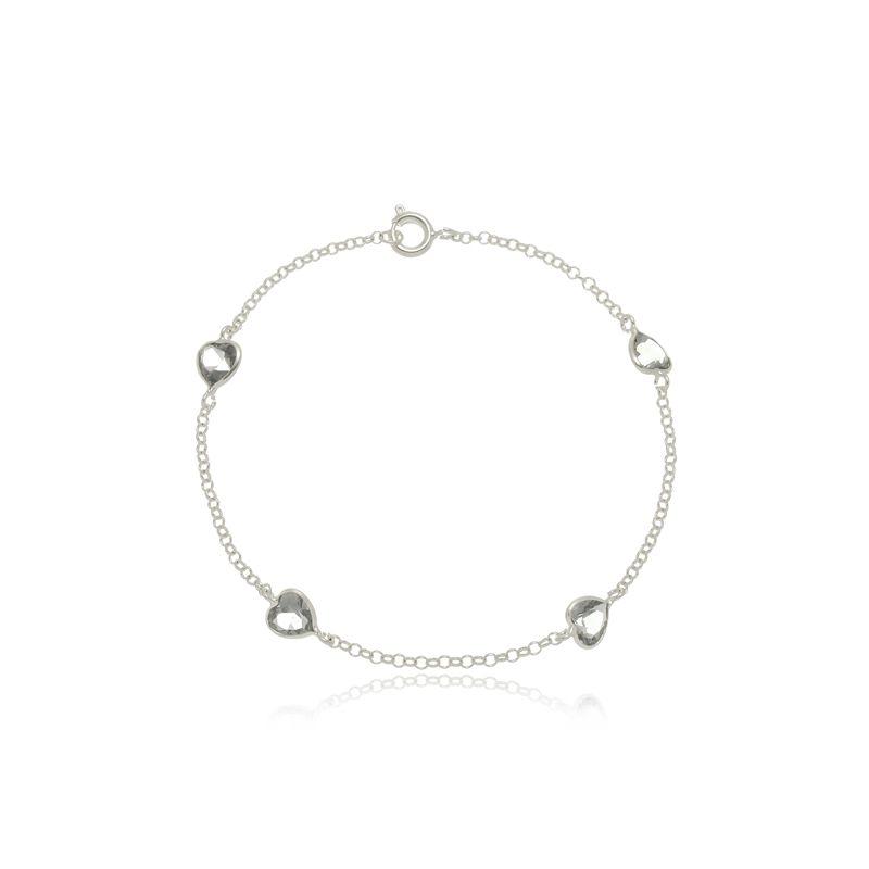 Pulseira Quatro Zircônias Coração Preto Cristal Em Prata 925