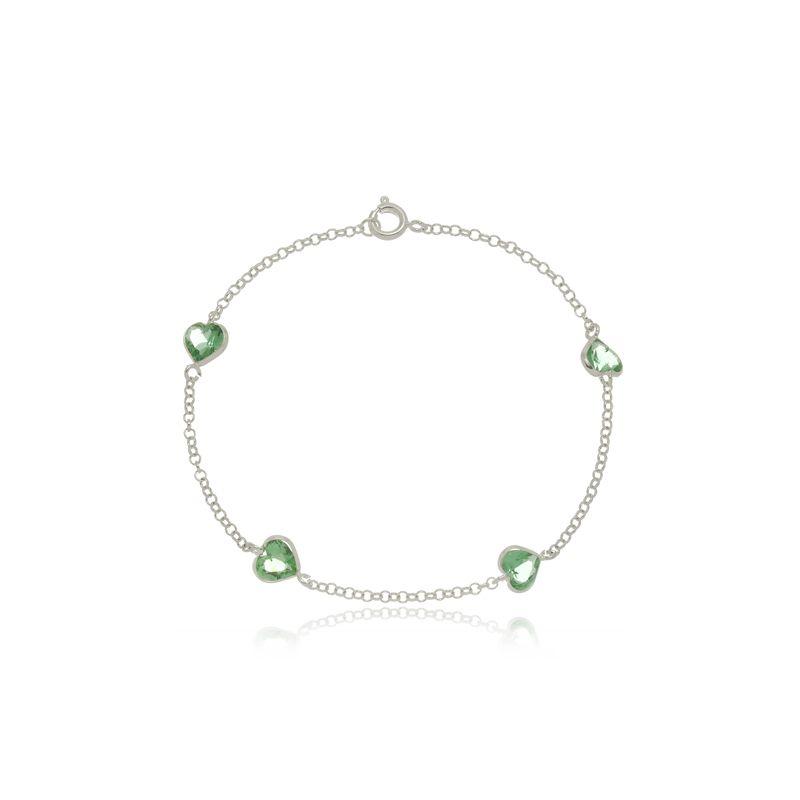 Pulseira Quatro Zircônias Coração Verde Cristal Em Prata 925