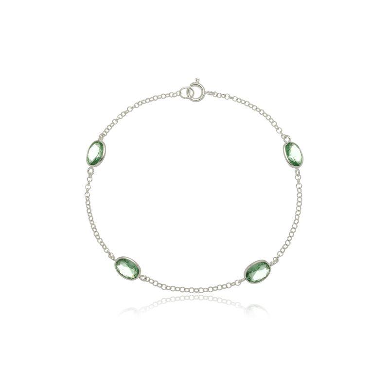 Pulseira Quatro Zircônias Oval Verde Água Em Prata 925