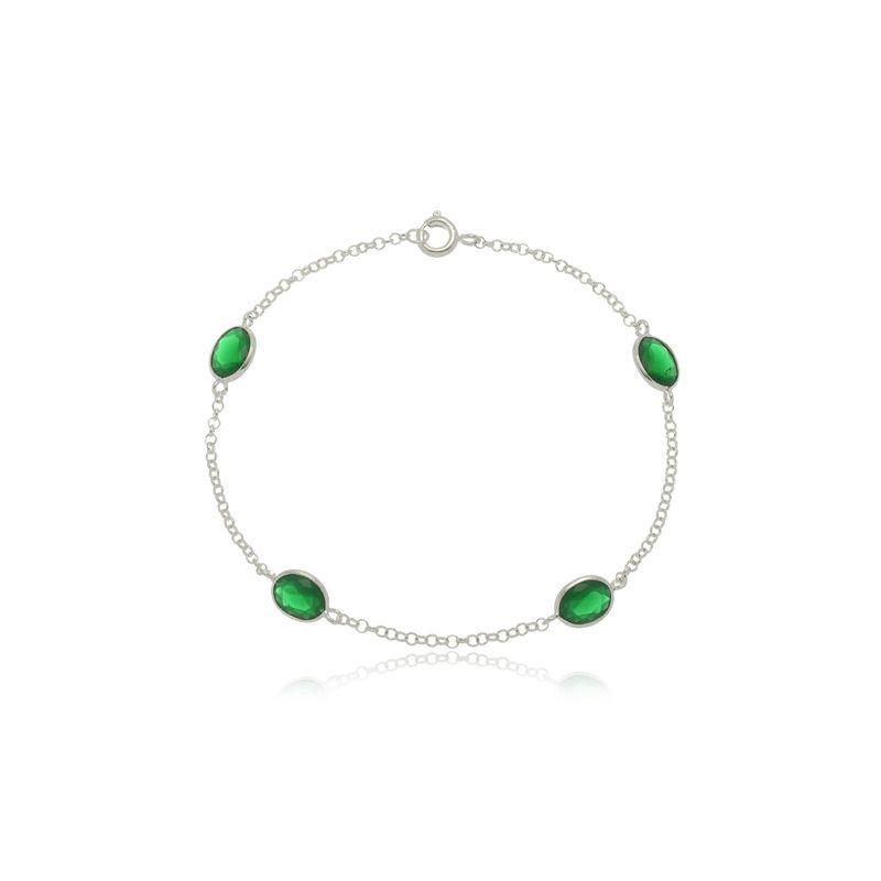 Pulseira Quatro Zircônias Oval Verde Em Prata 925