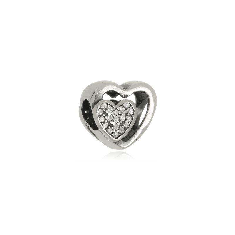 Berloque Separador Coração Duplo Em Prata 925