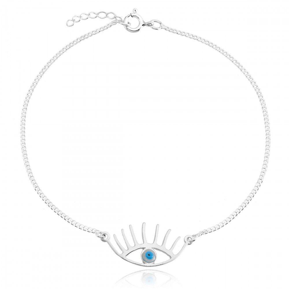 Tornozeleira Olho Grego Com Cílios Em Prata 925