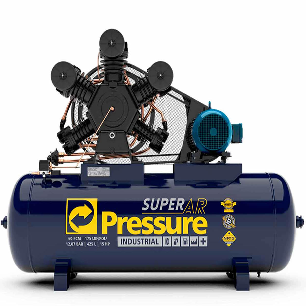 Compressor Pressure - SUPER AR 60/425 -  60 pés - 425 litros - 175 libras - trifásico