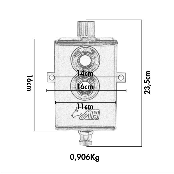 Reservatório de óleo Médio de 2L com respiro e conectores 10AN / AN10 - Preto