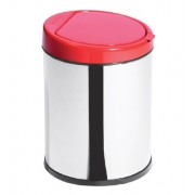 Lixeira Inox 3L com Balde Click Tampa Vermelha - Ø16 X 23cm