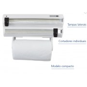Porta-Rolos Roll-Up 3x1 Branco com Puxador Preto