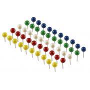 Alfinetes Para Mapa e Recados Para Quadros de Cortiça Redondos, Coloridos (Sortidos) Com 50 Unidades