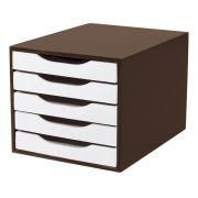 Caixa Arquivo Gaveteiro em MDF Tabaco com 5 Gavetas Brancas Souza Referência 3312