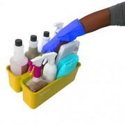 Cesto Organizador Funcional De Produto De Limpeza Bralimpia Amarelo