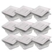 CONJ 10 CUBAS Gastronômicas Em POLICARBONATO GN 1/6X65 mm 1 Litro + 10 TAMPAS Em POLI 1/6 Tradicional Originais CAMBRO