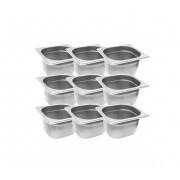 CONJ 10 CUBAS Gastronômicas Em INOX GN 1/6x100 mm 1,5 Litros Originais ZAHAV
