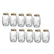 Conj 10 Potes de Vidro Quattro Stagioni 1,5 Litros Para Conservas e Afins COM Tampa Original