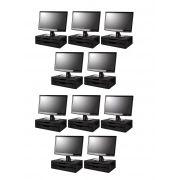 CONJ Com 10 Suportes Para Monitor de Mesa Em MDF Black Piano Com 2 Gavetas Black Piano Souza Referência 3346
