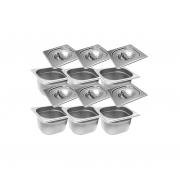 CONJ 15 CUBAS Gastronômicas Em INOX GN 1/6x65 mm 1 Litro + 15 TAMPAS 1/6 Em INOX Tradicional Originais ZAHAV