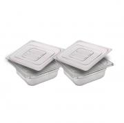 CONJ 2 CUBAS Gastronômicas Em POLICARBONATO GN 1/6X65 mm 1 Litro + 2 TAMPAS Em POLI Tradicional Originais CAMBRO