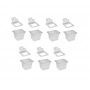 CONJ 36 CUBAS Gastronômicas Em Policarbonato GN 1/6X100 mm 1,5 Litros + 36 TAMPAS Em POLI Com FLIP, DOBRADIÇA e ABERTURA Originais CAMBRO