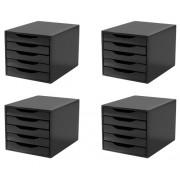 CONJ 4 Caixa Arquivo em Black Piano com 5 Gavetas Black Souza Referência 3363