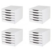 CONJ 4 Caixa Arquivo Em MDF Branco Com 5 Gavetas Brancas Referência 3306 - Souza