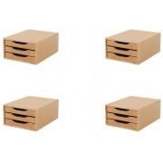 Conj. 4 Caixa Arquivo Gaveteiro em MDF Cor NATURAL com 3 Gavetas NATURAL Souza Referência 3316