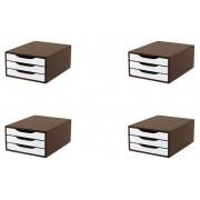 Conj. 4 Caixa Arquivo Gaveteiro em MDF TABACO com 3 Gavetas Brancas Souza Referência 3311