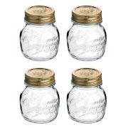 Conj 4 Potes de Vidro Quattro Stagioni 150 ml Para Conservas e Afins COM Tampa Original