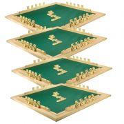 CONJ 4 Tabuleiros de Mesa Para DOMINÓ Com Feltro Verde 66x66 cm 7009