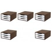 Conj. 5 Caixa Arquivo Gaveteiro em MDF TABACO com 3 Gavetas Brancas Souza Referência 3311