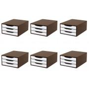 Conj. 6 Caixa Arquivo Gaveteiro em MDF TABACO com 3 Gavetas Brancas Souza Referência 3311
