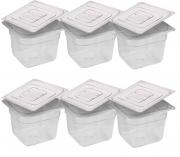 CONJ 6 CUBAS Gastronômicas Em POLICARBONATO GN 1/6X100 mm 1,5 Litros + 6 TAMPAS 1/6 Em POLI Tradicional Originais CAMBRO