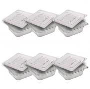 CONJ 6 CUBAS Gastronômicas Em POLICARBONATO GN 1/6X65 mm 1 Litro + 6 TAMPAS 1/6 Em POLI Tradicional Originais CAMBRO