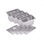CONJ 6 CUBAS Gastronômicas Em INOX GN 1/4x100 mm 2,7 Liltros + 6 TAMPAS 1/4 Em INOX Tradicional Originais ZAHAV