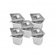CONJ 6 CUBAS Gastronômicas Em INOX GN 1/6x150 mm 2,2 Litros + 6 TAMPAS 1/6 Em INOX Tradicional Originais ZAHAV